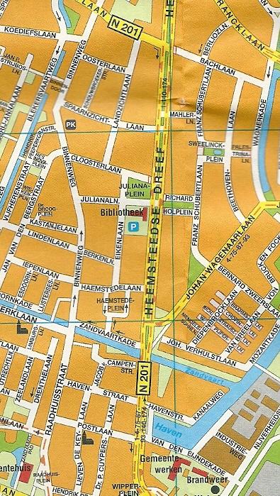 Plattegrond van Raadhuisstraat en Binnenweg + omliggende straten, vanaf het Raadhuisplein tot de Lanckhorstlaan [N201]. (Citoplan Heemstede)