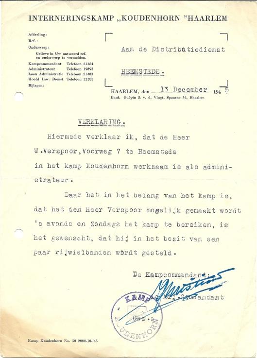 Na de Bevrijding was Wim Verspoor enige tijd werkzaam als administrateur in interneringskamp 'Koudenhorn' Haarlem waar collaborateurs tijdelijk gevangen zaten. Om vanuit Heemstede zijn werk te bereiken werd hem een fiets ter beschikking gesteld.