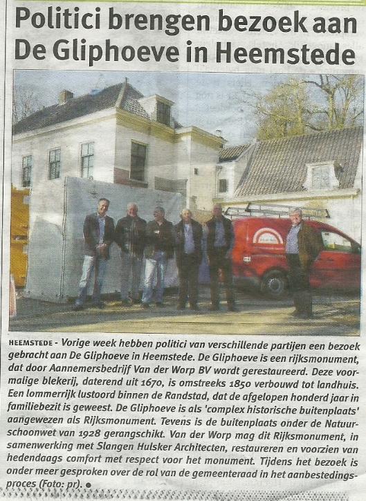 Restauratie De Gliphoeve. Uit Weekblad Heemstede, 20 maart 2014