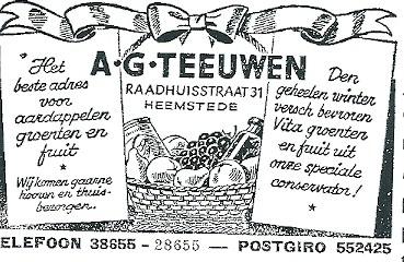 Oude advertentie A.G.Teeuwen, Raadhuisstraat 31