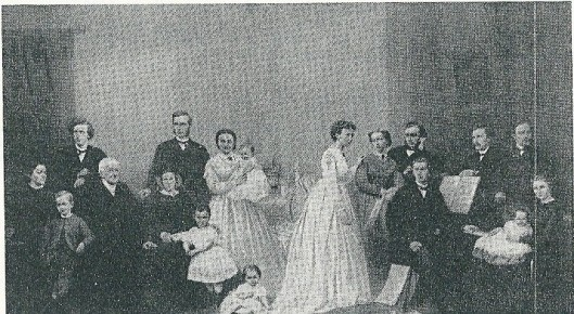 Schilderij, gemaakt ter gelegenheid van de gouden bruiloft van Francois Gerard Waller en Helena Albertina Waller-Beckman (circa 1867). Derde van links Herman Francois Waller; twaalfde van links diens zuster Catharina Rutgera Pierson-WAller, daarnaast staande haar echtgenoot Nicolaas Gerard Pierson