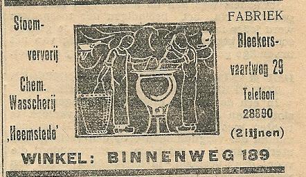 Advertentie wasserij 'Heemstede' Peeperkorn, uit: De eerste Heemsteedsche Courant van 29 augustus 1930
