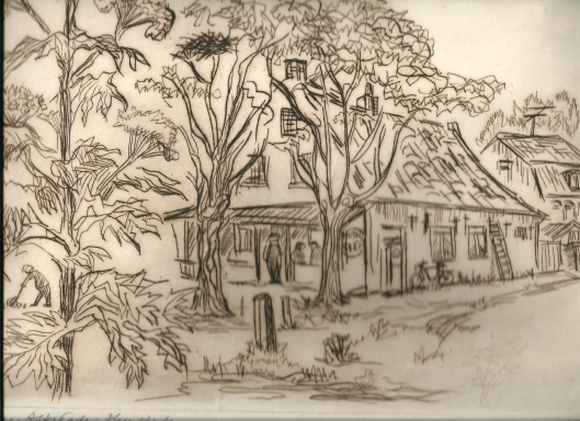 Oude herberg hoek Asterkade/Zandvoortselaan. Gravure van Dick Wentzel (1921-2006) uit 1977