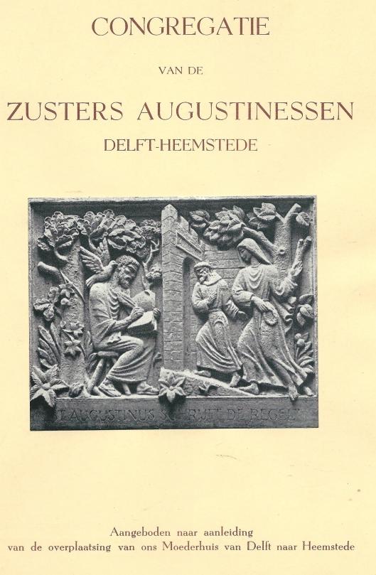 Voorzijde van in 1949 verschenen uitgave met afbeelding van: 'Augustinus schrijft zijn regel', muurtegel in de hal van Mariënheuvel Heemstede