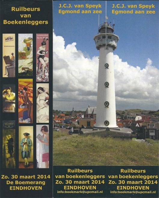 Als herinnering aan een geslaagde ruilbeurs van boekenleggers in Eindhoven op zondag 30 maart in wijkcentrum 'de Boemering' ontvingen de deelnemers (ook uit België, Duitsland en Frankrijk) drie bladwijzers van organisator Dick Kolstee