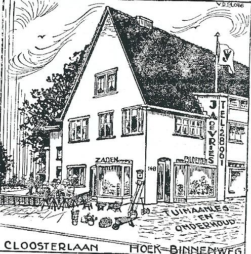 Reclame van De Vries Bloemenmagazijn uit de jaren dertig, gevestigd op de hoek Binnenweg en Cloosterlaan