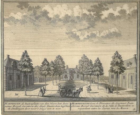 De hofstede Hartenlust in Bloemendaal. Gravure van Hendrik de Leth, 1762