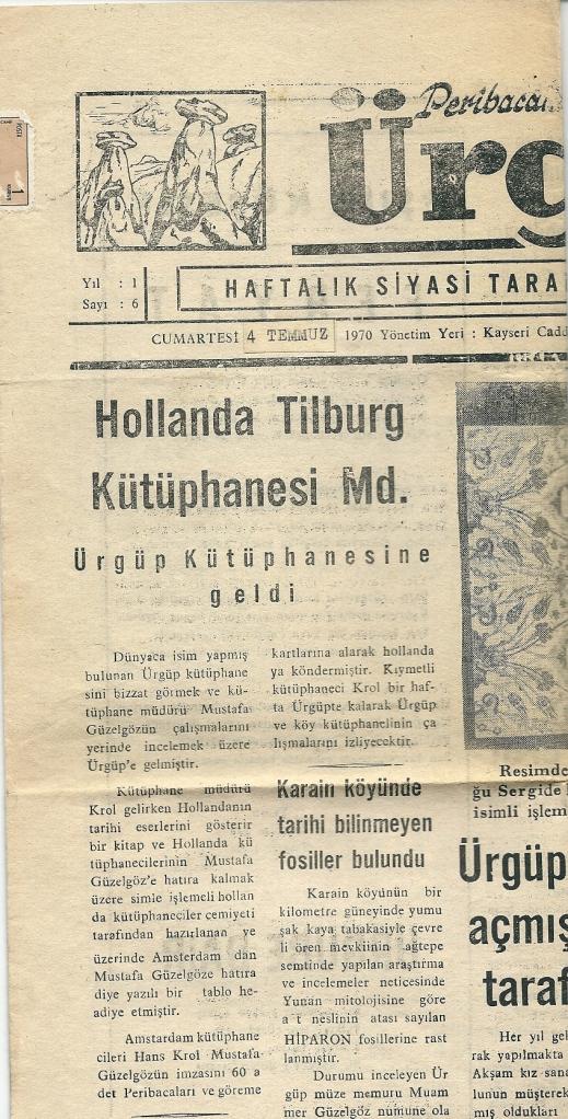 Bericht over bezoek van Hans Krol aan de bibliotheek in het weekblad van Ürgüp, 1970