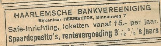 Adv. van de Haarlemsche Vankvereeniging, Binnenweg 7, Heemstede. Uit de Eerste Heemsteedsche Courant van 29 augustus 1930.