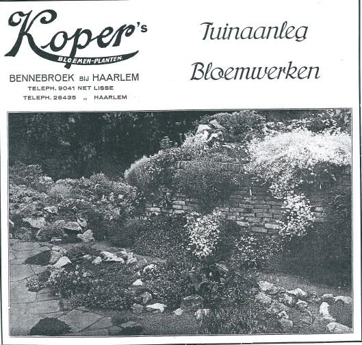 Reclame van Koper tuinaanleg Bennebroek uit 1929
