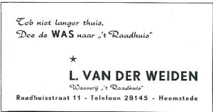 In de jaren zestig adverteerde wasserij Van der Weiden inclusief middenstandsrijm