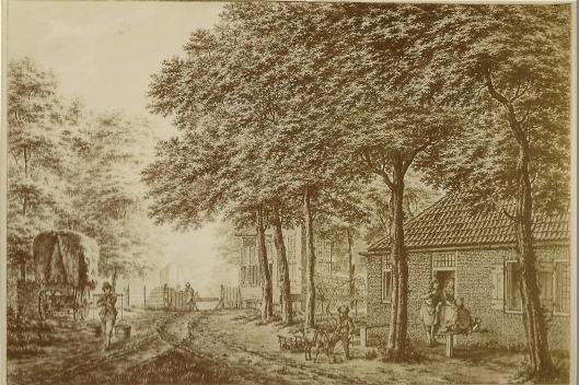 Herberg Land- en Boszicht, later Haringbuys geheten op een aquarel van Jacob Cats uit 1774, Aerdenhout