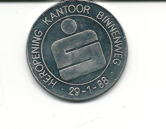 Bij gelegenheid van heropening Spaarbankkantoor Heemstede op 29-1-1988 uitgegeven munt.