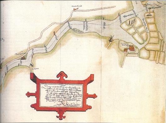 Deel van een tekening door Pieter Bruynszoon, landmeter van Rijnland. De mond van het Spaarne nabij het Huis te Heemstede en de korenmolen bij Molenwerf in 1602. De Scravesloot is het in 1440 rechtgetrokken gedeelte Spaarne. We zien het daarop ontstane eiland met enkele huizen. Van de Mient is in 1602 alweer een deel afgekalfd.