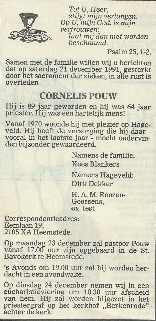 Overlijdensadvertentie pastoor Cornelis Pauw, de laatste pastoor van Berkenrode genoemd.