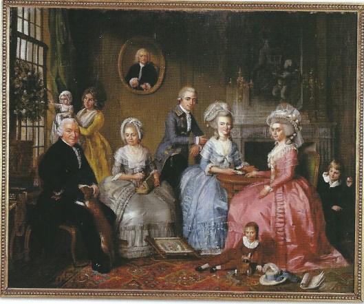 Vier opeenvolgende generaties Van Loon. Tegen de wand een portret van de al overleden Jan van Loon. Jan van Loon en zijn vrouw Maria Backer zijn zittend links afgebeeld. Staand naast de tafel diens oudste zoon Jan van Loon jr. Spelend helemaal vooraan de eerst geboren zoon van Jan van Loon jr.. Zittend aan tafel de twee oudste dochters van Jan van Loon sr. Bij het raam staat de echtgenote van Jan van Loon jr., Adriaan de Lelie. Schilderij uit 1786 in Museum Van Loon, Amsterdam