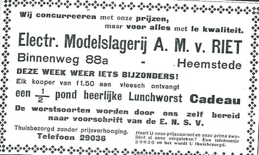 Modelsalgerij A.M.van Riet, Binnenweg 88a. Advertentie uit de Heemsteder van 1934