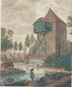 Prent van het stoomgemaal in de polder Blijdorp bij Rotterdam
