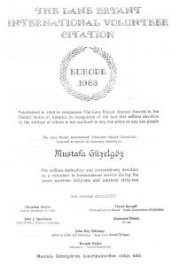 Toekenning van een Amerikaanse waardering voor Mustafa Güzelgöz in 1963