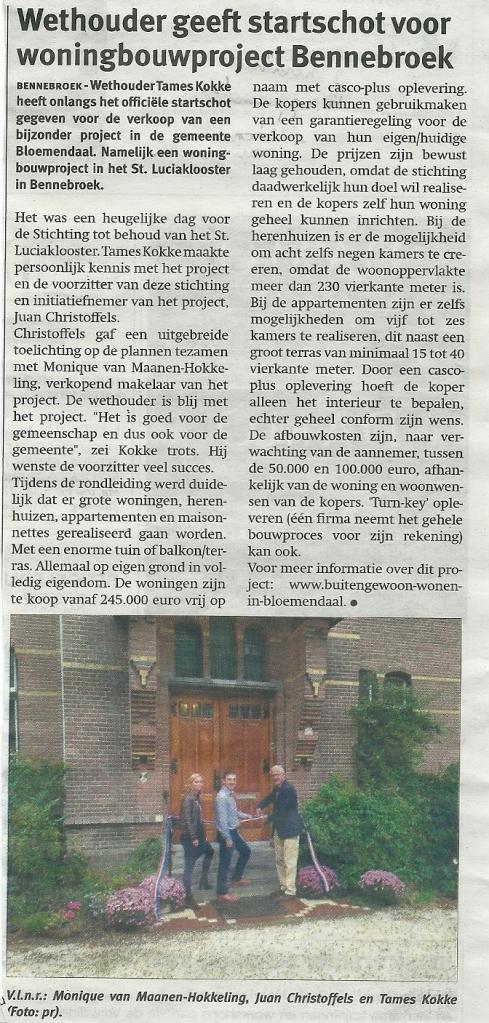 Bericht uit het Weekblad van Kennemerland Zuid van 17 oktober 2012. Voorzien zijn 7 herenhuizen, 4 appartementen en 6 maisonnettes.
