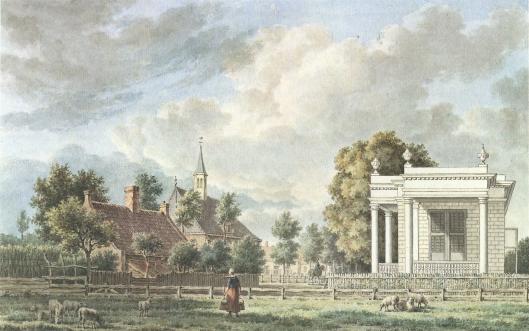 De koepel van Woldhoed in Bloemendaal. Daarachter de Hervormde Kerk. Tekening van J.E.Grave uit omstreeks 1792