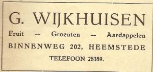 Advertentie G.Wijkhuizen uit 1940