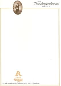 Briefpapier van 'De oude geleerde man' in Bennebroek uit circa 1980