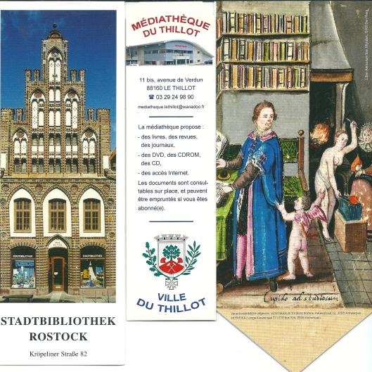 V.l.n.r.: 1. Stadtbibliothek Rostock, Duitsland; 2. Médiathèque du Tillot, Frankrijk; 3. illustratie uit een liber amicorum n.a.v. tentoonstelling in Museum Rockoxhuis, Antwerpen, België