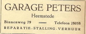 Advertentie garage Peters uit 1940