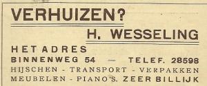 Advertentie uit 1940 van H.Wesseling