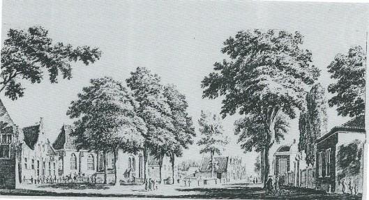 Tekening van omstreeks 1750 van Hendrik Spilman. Links herberg Het Wapen van Heemstede dan de kerk en vervolgens de school aan de Voorweg en een aantal huizen. Rechts tussen theekoepel en stenen pand de toegangspoort naar de hofstede Valkenburg