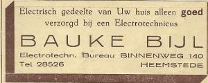 Advertentie van Elektrotechn. bureau Bauke Bijl uit 1940