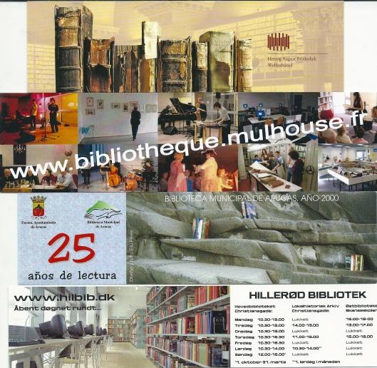 Van boven naar beneden: 1. Herzog August Bibliothek Wolfenbüttel, Duitsland; 2. Bibliothèque Mulhouse, Frankrijk; 3. Biblioteca Municipal de Arucas, Canarische eilanden, Gran Canaria, 2000; Hillerod Bibliothek in Denemarken.