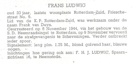 Door vader Ludwig verspreid affiche van vermissing met portretfoto van zoon Ludwig