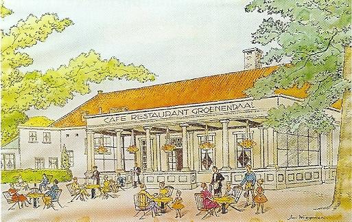 Tekening van café-restaurant Groenendaal door Jan Wiegman