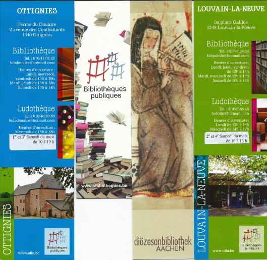 V.l.n.r.: 1. Bibliothèque Ottignies, België; 2. Bibliothèques Publiques Wallonië; 3. Diözesanbibliothek Aachen, Duitsland; 4. Bibliothèque/Ludothèque Louvain-la-Neuve, België