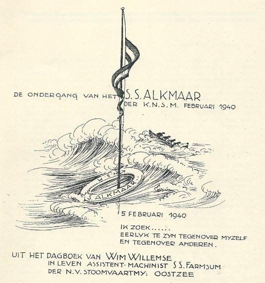 Voorzijde van na de oorlog uitgegeven dagboekaantekeningen van Wim Willemse, in leven assistent-machinist stoomschip Farnsum der n.v. Stoomvaartmaatschappij Oostzee