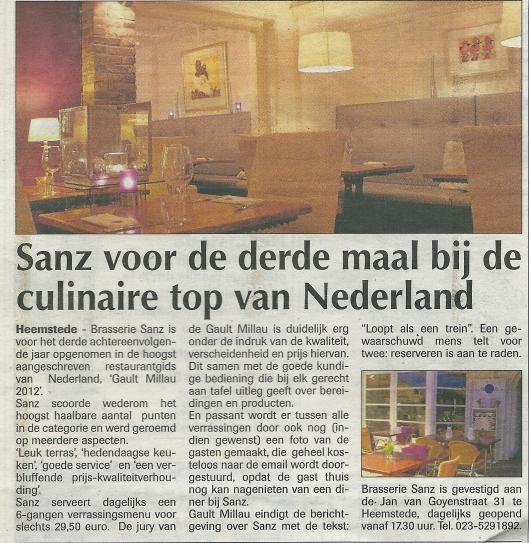 Bericht over brasserie Sanz uit de Heemsteder van 9-11-2012