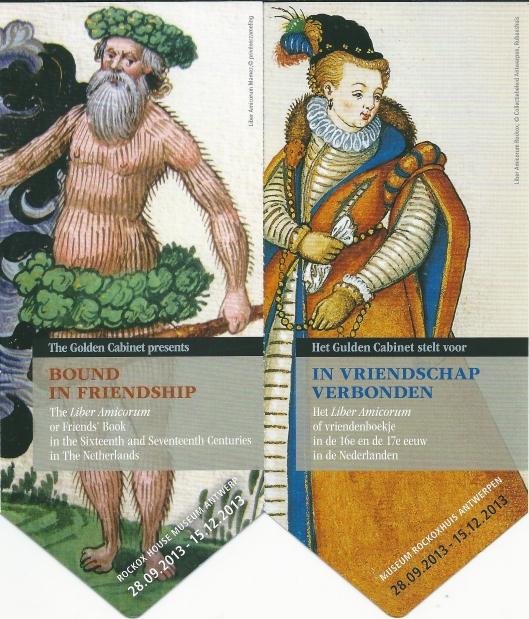 Bladwijzers uitgegeven n.a.v. expositie 'In vriendschap verbonden; het Liber Amicorum in de 16e en 17e eeuw in de Nederlanden' van 28-9-2013 tot 15-12-2013 in Museum Rockoxhuis te Antwerpen