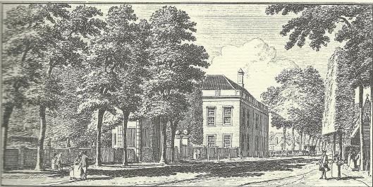 'Gezigt aan de Heerenweg by de hofstede Bosch en Vaart'. Gravure Hendrik Spilman, 1762