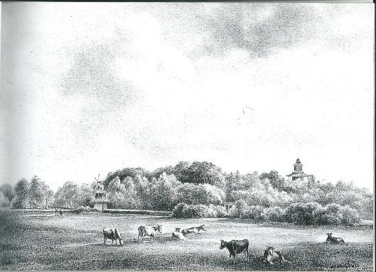 Toen P.J.Lutgers deze tekening en litho vervaardigde (1843) was het pompgebouw net afgebroken. Enkel het molentje van Groenendaal zis nog zichtbar, naast de nabiigelegen belvédère