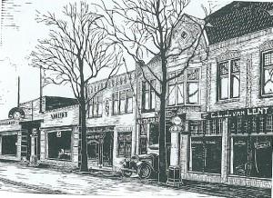 Autogarage Van Lent was gevestigd aan de Raadhuisstraat 53-65, waar nu nieuwbouw staat. Hier met een afbeelding uit een vooroorlogse 'Gids voor Heemstede'.