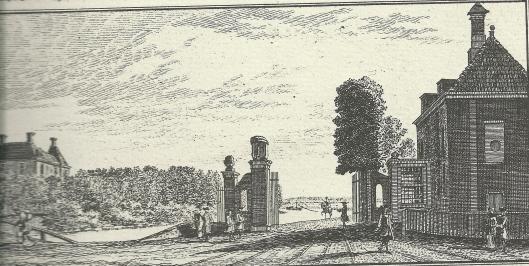 'Het Tol-hek aan de Leidsche Vaart' Kopergravure van Hendrik Spilman, 1763