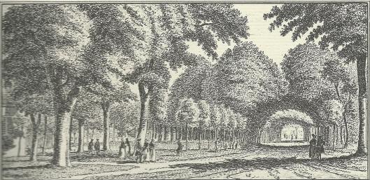 'Aan de herberg het Fortuin, na de Kleine Houtweg te zien' ets door Hendrik Spilman, 1763