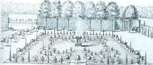 Eén van de tuinen van Nieuw-Westermeer - nu ter hoogte van de Algemene Befraafplaats in Heemstede - waar tuinman Rijfkogel begin 19e eeuw bloembollen te koop aanbood