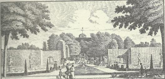 'Gezigt aan de Heerenweg van de hofstede Bosch en Hoven van vooren' Kopergravure door Hendrik Spilman, 1763