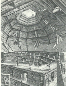 Erik Desmazières: 'Salle hexagonale'. Uit: Jorge Luis Borges, the library of Babel (Boston, 2000)