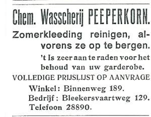 Advertentie van chemische wasserij Peeperkorn, uit de Heemsteder van 1934
