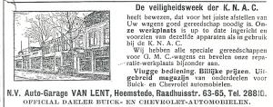 Adv. van autogarage Van Lent uit de Heemsteder van 1934