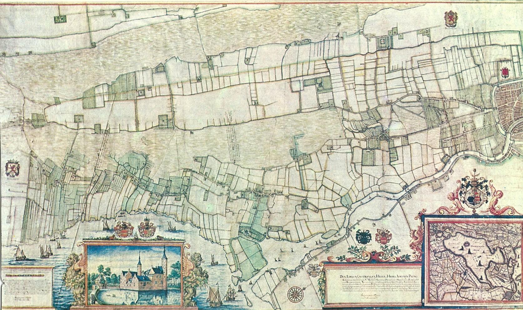 Kaart van Balthasar Floiszoon van Berkenrode uit 1643 van Heemstede. Rechts de stad Haarlem.